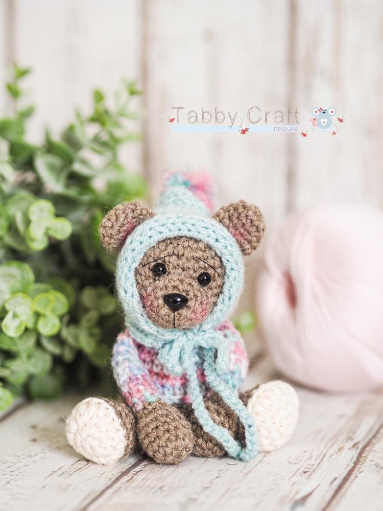 Tiny Teddy with Pom Pom Bonnet - Grey and  Multi