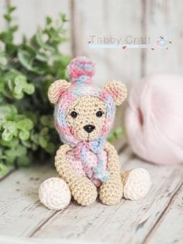 Tiny Teddy with Pom Pom Bonnet - Beige and  Multi