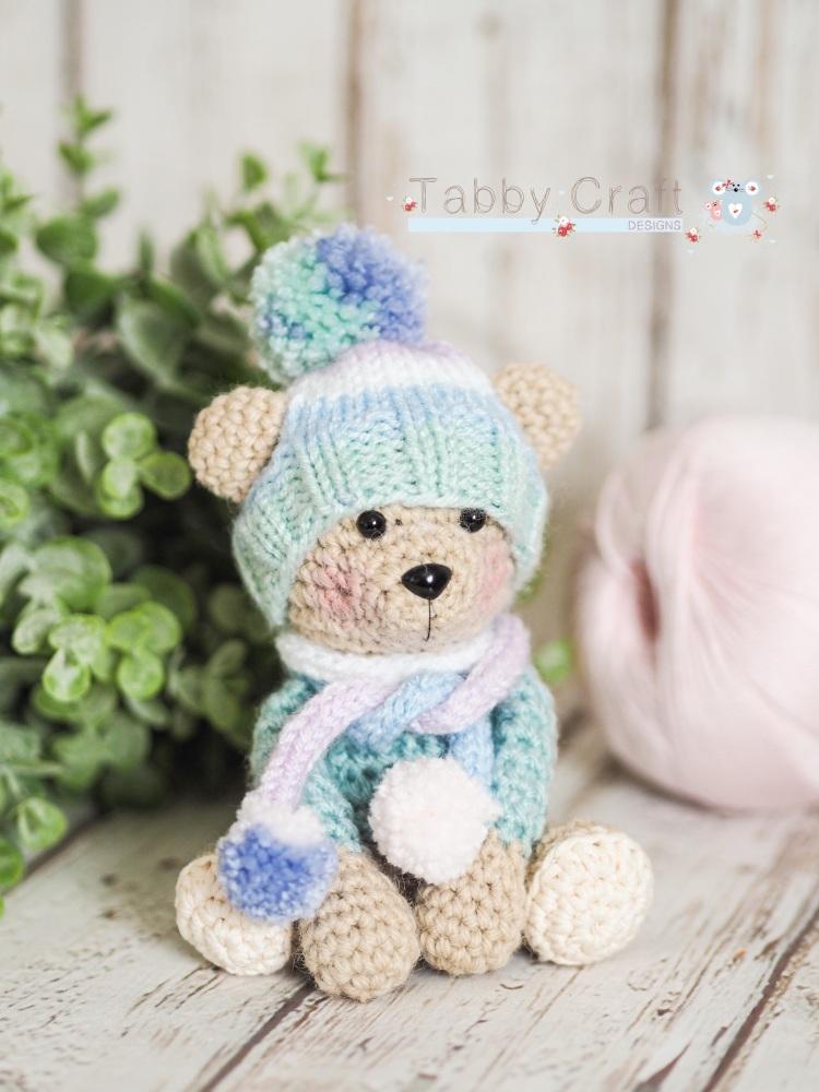 Tiny Teddy with Pom Pom Hat and Scarf - Beige and  Multi