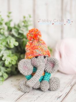 Tiny Elephant with Pom Pom Hat - Grey and Bright Multi