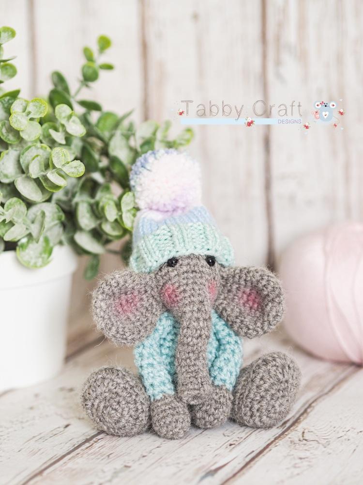Tiny Elephant with Pom Pom Hat - Grey and Pink Multi