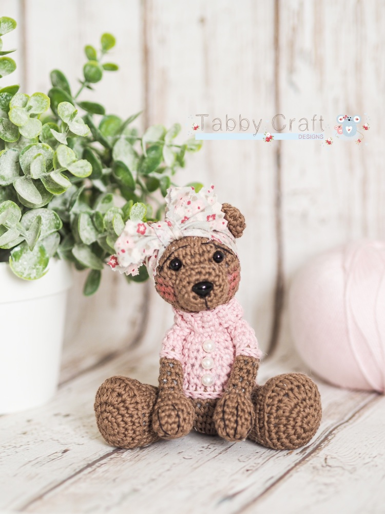 Tiny Teddy with Floral Bow - Brown and Pink