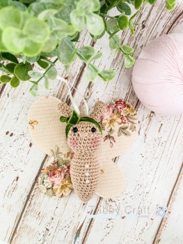 Small Butterfly with Bow  - Ivory  and  Floral Pink