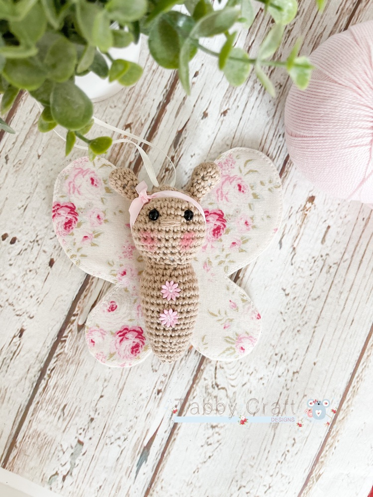 Small Butterfly with Bow  - Ivory and  Pink