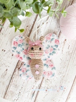 Small Liberty Butterfly with Bow  - Ivory and Pink