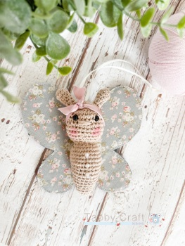 Small Tilda Butterfly with Bow  - Grey and Pink