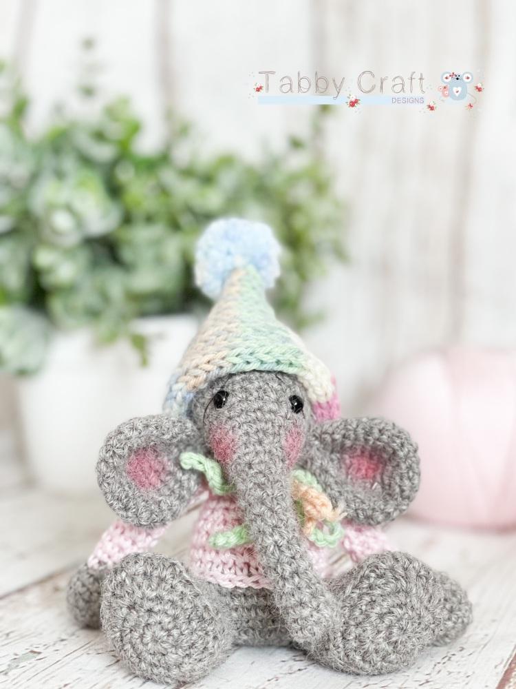 Tiny Elephant with Pom Pom Pixie Hat - Grey and Multi