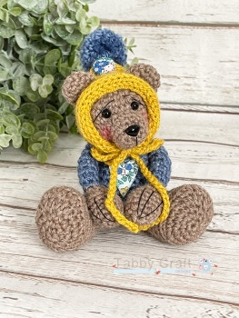 Tiny Teddy with Pom Pom Bonnet and Liberty Heart - Mustard and Teal