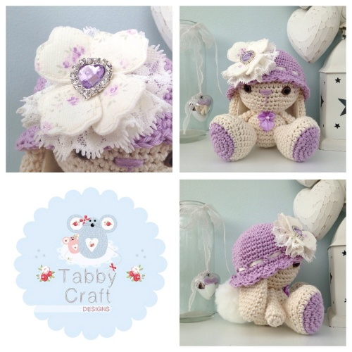 Bunny with Hat and Flower - Lilac and Cream