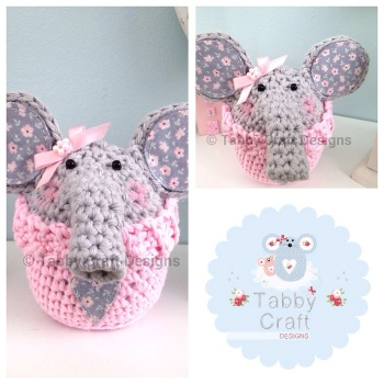 Custom Listng for Gillian Carmichael - Elephant Peek-a-Boo Buddy - Grey and Pink