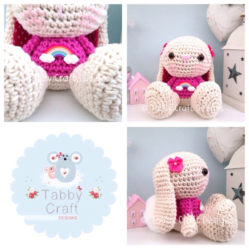 Rainbow Bunny - Ivory and Hot Pink