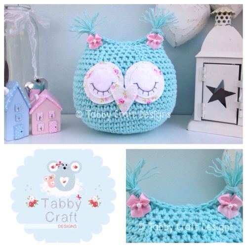Sleeping Baby Owlet - Aqua and Pink