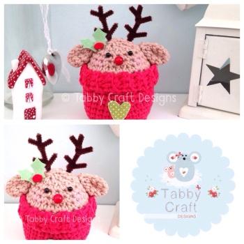 Christmas Rudolph Peek-a-Boo Buddy - Dark Beige and Red