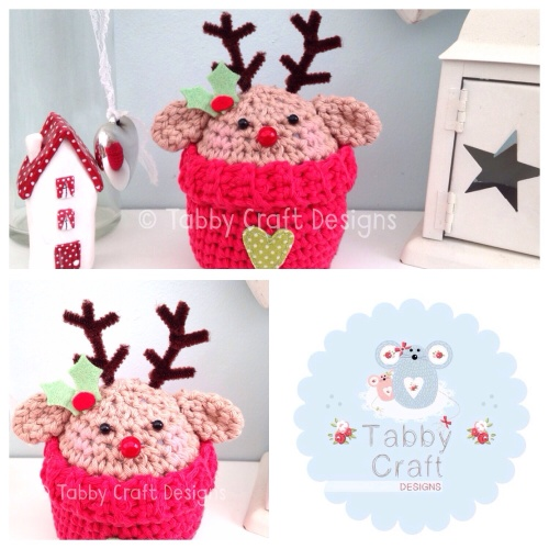 Xmas Rudolph Peek-a-Boo Buddy - Dark Beige and Red