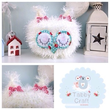 Fluffy Sleeping Baby Owlet - White and Aqua