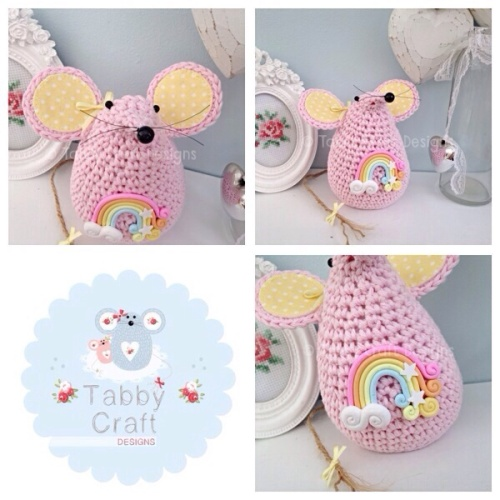 Large Rainbow Mousey - Pink and Lemon