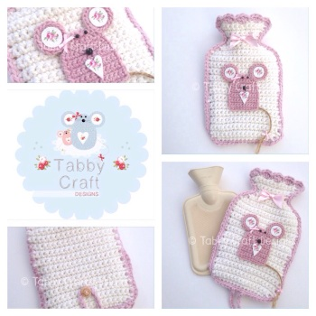 Mousey Hot Water Bottle including bottle - Ivory and Pink