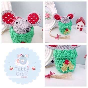 Small Christmas Jump Mouse - Grey and Green