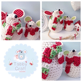 Winter Mouse with Scarf Set - Cream, Green and Red
