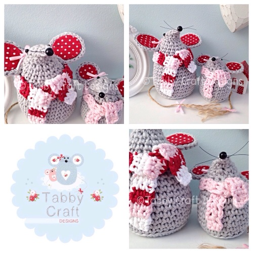 Winter Mouse with Scarf Set - Grey, Pink and Red