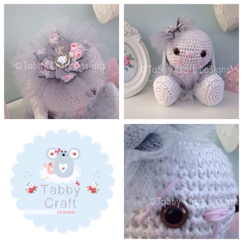 Sparkly Tutu Bunny - White Glitter, Grey and Pink