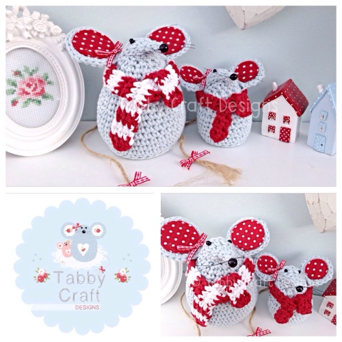 Winter Mouse with  Scarf Set - Blue and Red