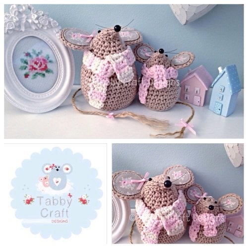 Winter Mouse with  Scarf Set - Light Brown and Pink