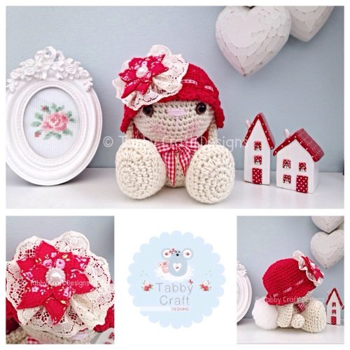 Bunny with Hat and Fabric Flower - Ivory Sparkle and Red