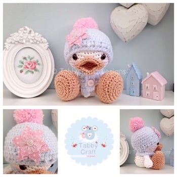 Duckie with Bobble Hat and Small Flower - White, Pale Blue and Pink