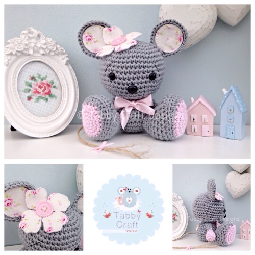 Sitting Mouse with Flower - Grey and Pink