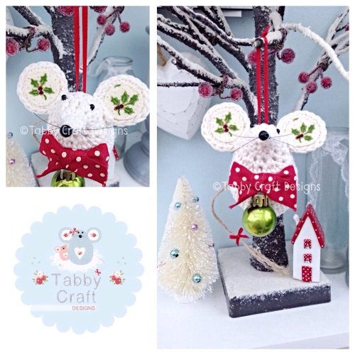 Small Christmas Bauble Mouse - Cream, Red and Green
