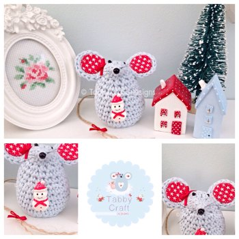 Small Christmas Snowman Mouse - Blue and Red