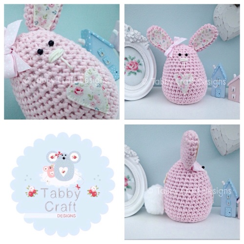 Large Floral Bunny - Pink and Cream