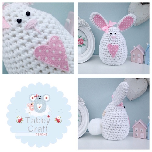 Large Polka Dot Bunny - White and Pink