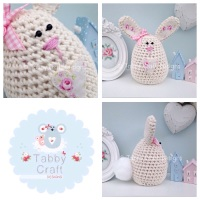 Large Bunny - Cream and Pink