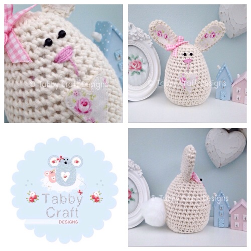 Large Floral Bunny - Cream and Pink