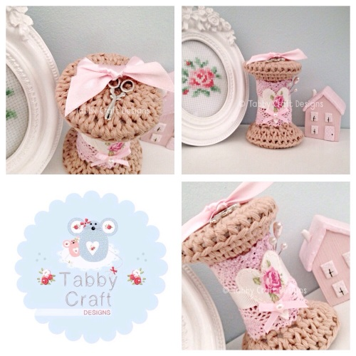Vintage Style Bobbin - Pink and Ivory