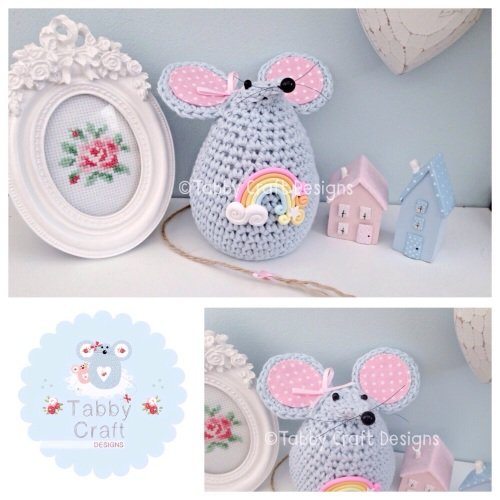 Large Rainbow Mousey - Blue and Pink
