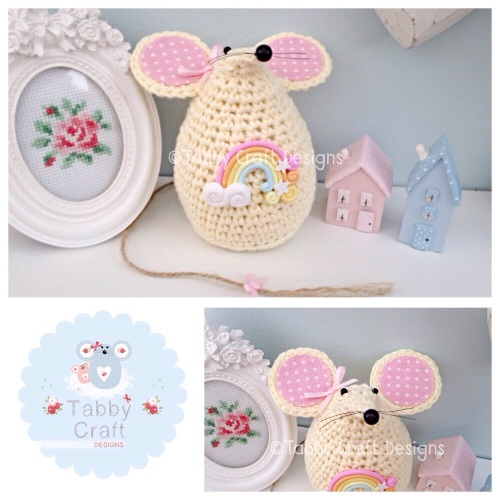Large Rainbow Mousey - Lemon and Pink