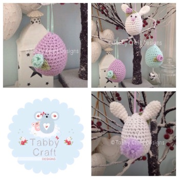 Set of 3 Easter Hanging Decorations - Lilac and Mint