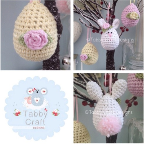 Set of 3 Easter Hanging Decorations - Pink and Yellow
