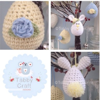 Set of 3 Easter Hanging Decorations - Blue and Lemon