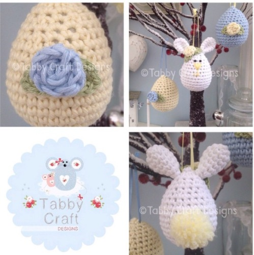 Set of 3 Easter Hanging Decorations -Blue and Yellow