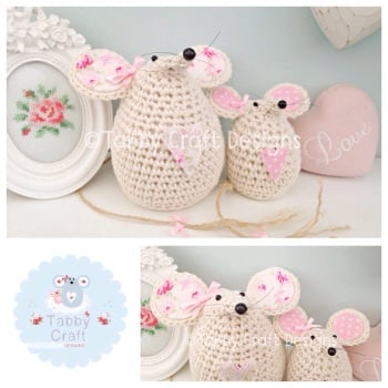 Floral Mouse  Set - Ivory and Pink