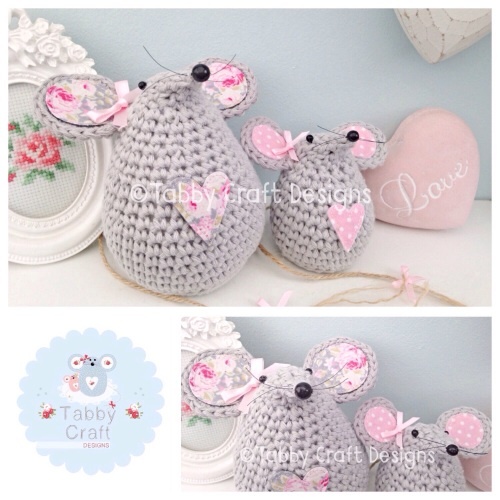 Floral Mouse  Set - Grey and Pink