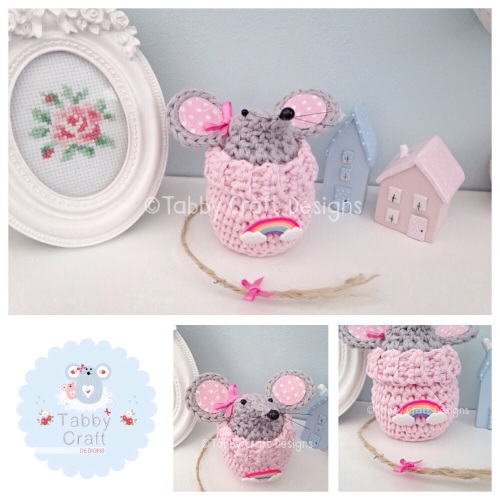 Small Rainbow Jumper Mouse - Pink and Grey