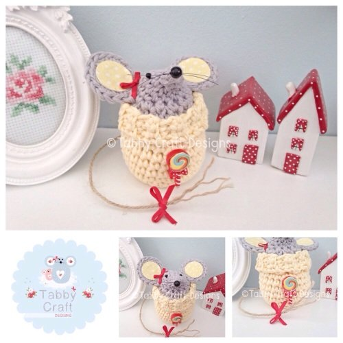 Small Lollipop Jumper Mouse - Lemon and Grey