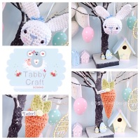 Bunny and Carrot Hanging Decorations - Blue