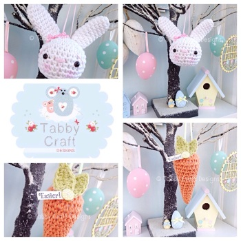 Bunny and Carrot Hanging Decorations - Pink