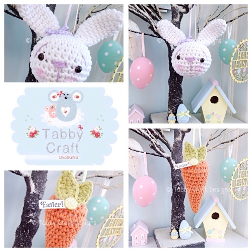 Bunny and Carrot Hanging Decorations - Lilac